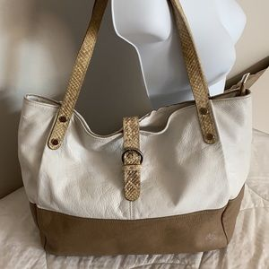Innue Italian Leather Tan & White with Snake trim